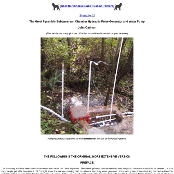 Great Pyramid Hydraulic Pulse Generator and Water Pump
