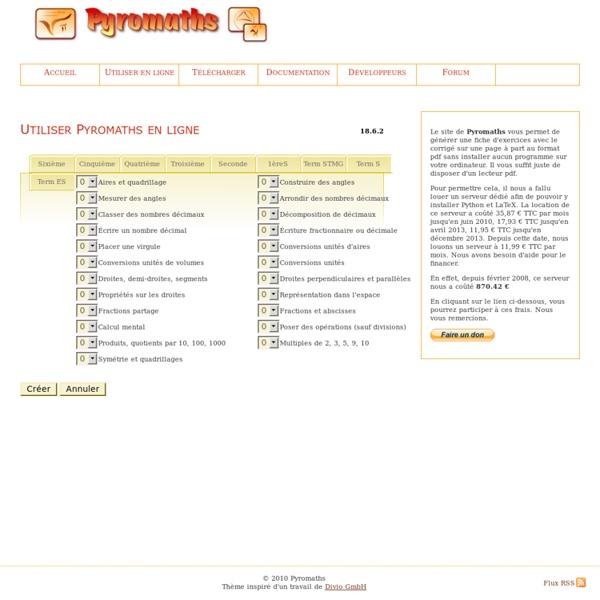 Pyromaths en ligne, un générateur de fiches d'exercices