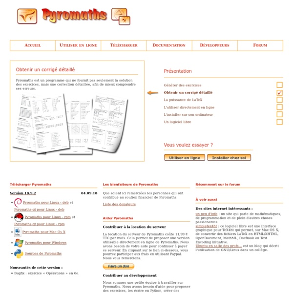 Pyromaths, un générateur de fiches d'exercices