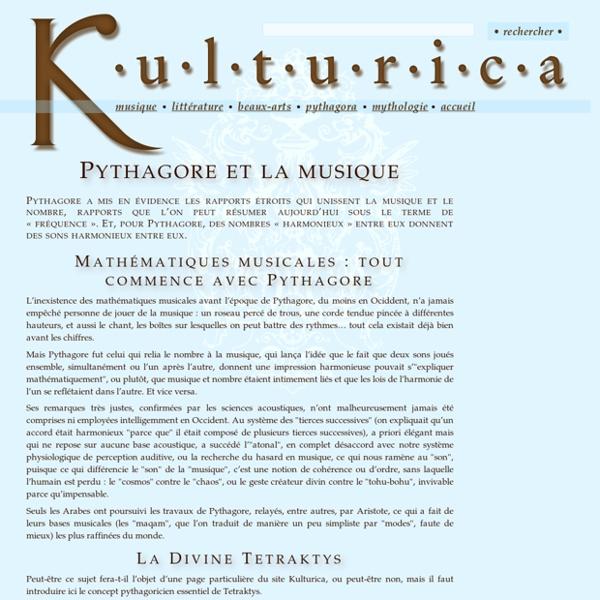 6. Kulturica : Pythagore et la musique
