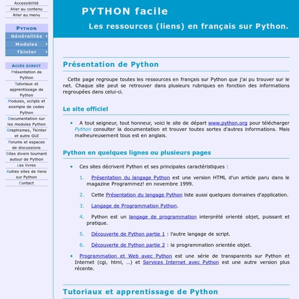 Python facile - Les ressources (liens) en français.