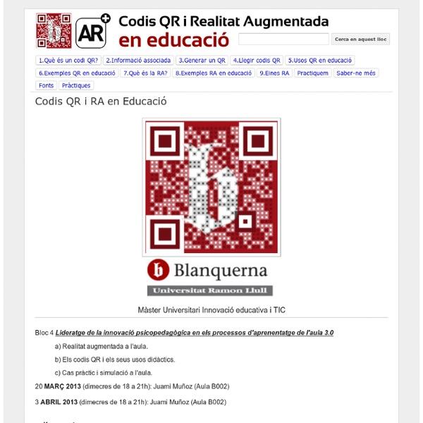 Codis QR i Realitat Augmentada en educació