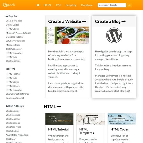 Free Web Tutorials - Quackit.com