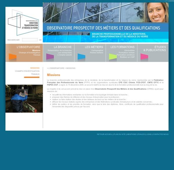 Observatoire Prospectif des Métiers et des Qualifications - miroiterie, transformation et négoce du verre