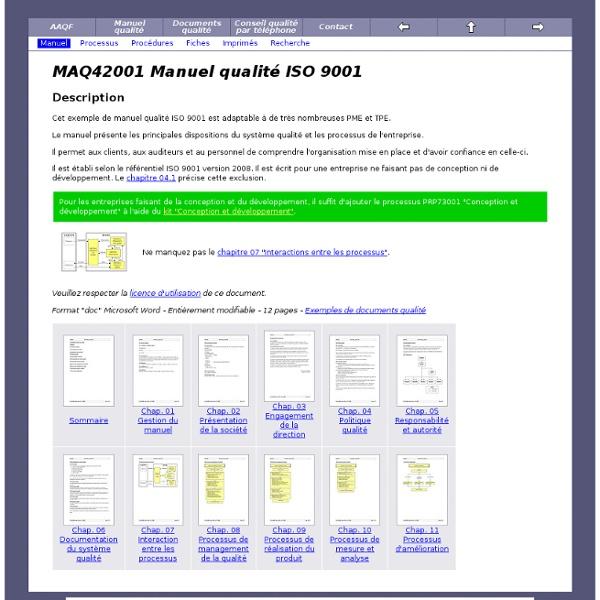 Manuel qualité ISO 9001 (exemple de manuel qualité avec commentaires)