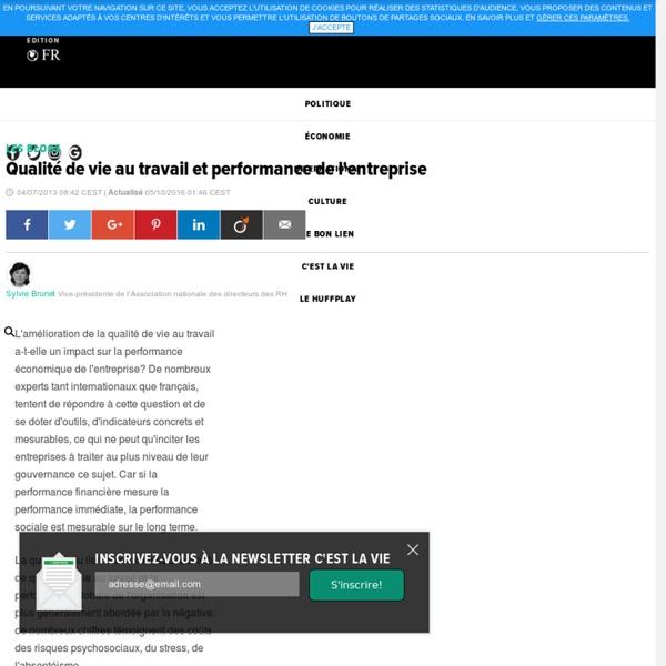 Qualité de vie au travail et performance de l'entreprise