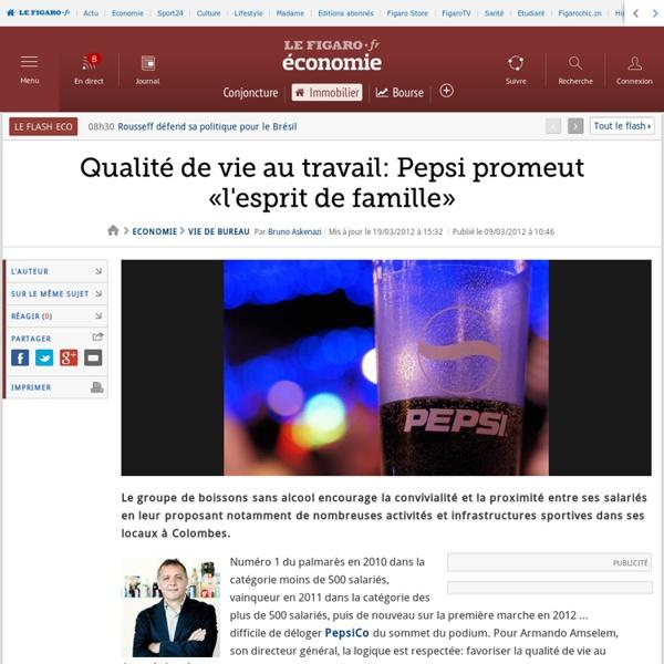 Qualité de vie au travail: Pepsi promeut «l'esprit de famille»