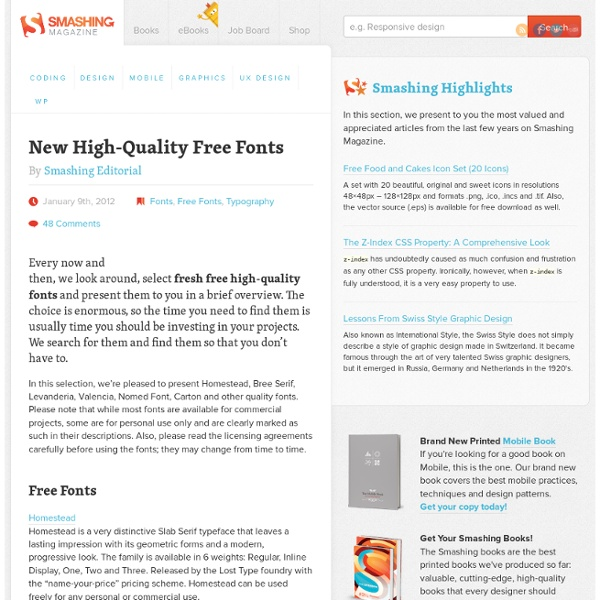 New High-Quality Free Fonts (2012 Edition) - Smashing Magazine