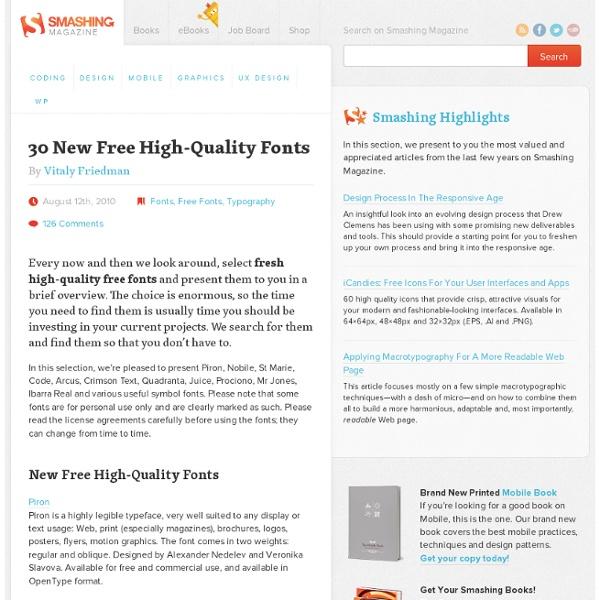 30 New Free High-Quality Fonts - Smashing Magazine