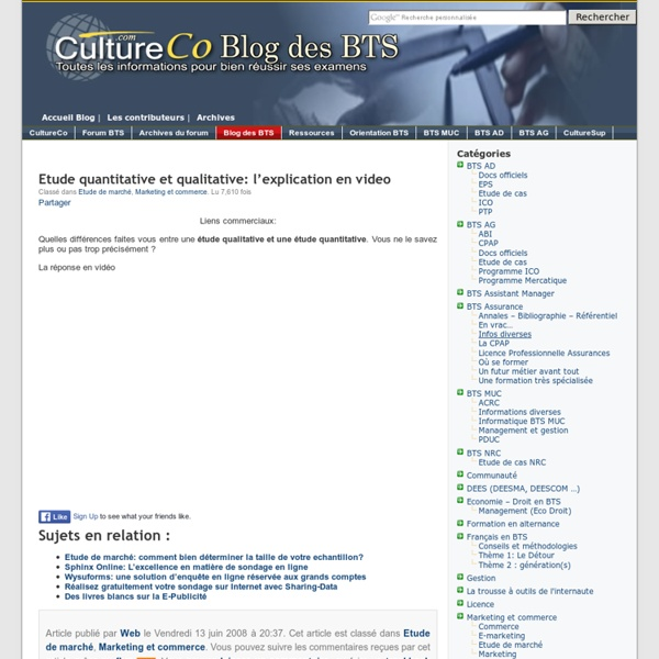 Etude quantitative et qualitative: l'explication en video