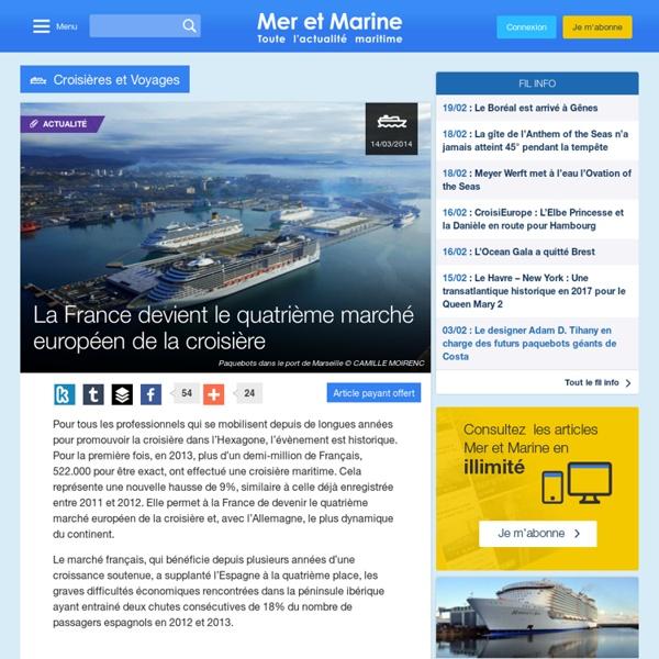 La France devient le quatrième marché européen de la croisière