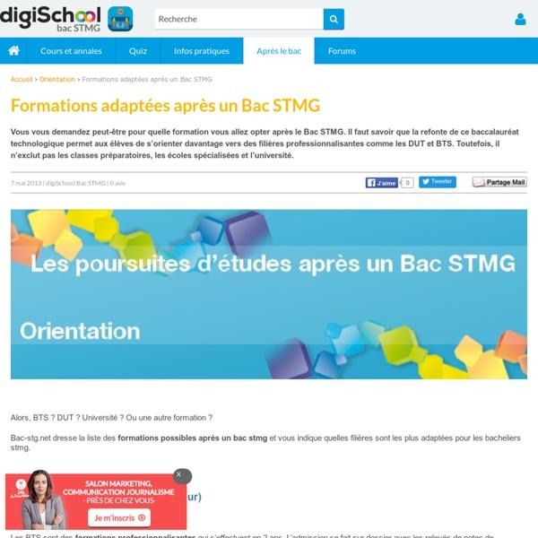 Les filières les plus adaptées après un Bac STMG