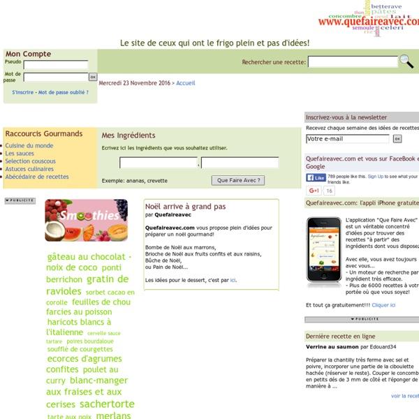 QueFaireAvec.com, le site de ceux qui ont le frigo plein et pas d'idées