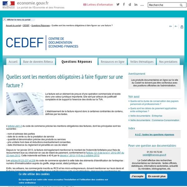 CEDEF - Quelles sont les mentions obligatoires à faire figurer sur une facture ?
