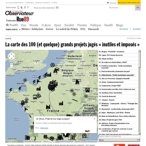 La carte des 100(et quelque) grands projets jugés «inutiles et imposés»