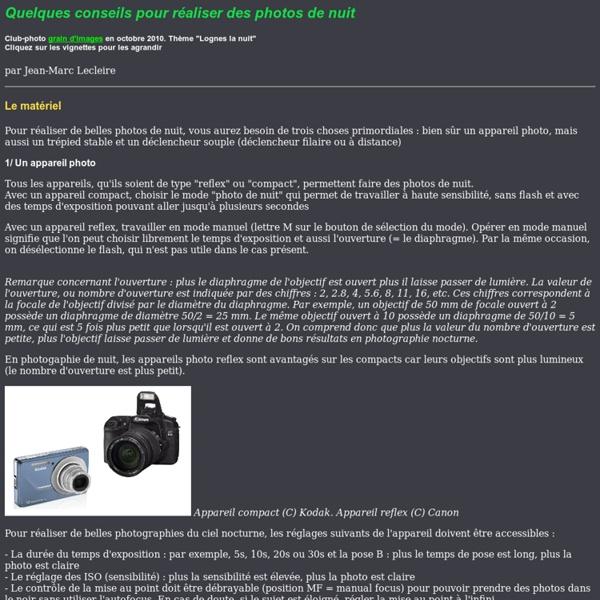 Quelques conseils pour réaliser des photo de nuit