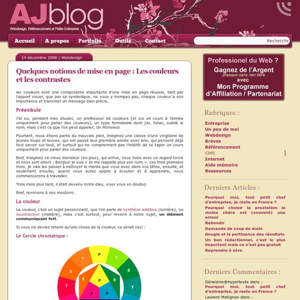 Quelques notions de mise en page : Les couleurs et les contrastes