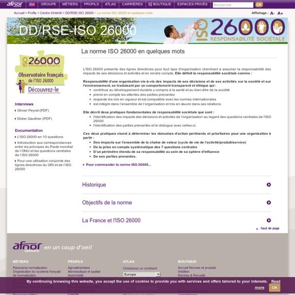 La norme ISO 26000 en quelques mots / RSE - ISO 26000 / Centre d'intérêt