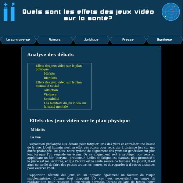 ETIC 2012 - Quels sont les effets des jeux vidéo sur la santé? - Analyse des débats