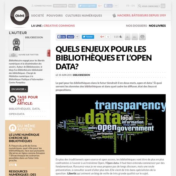 Quels enjeux pour les bibliothèques et l'open data ?