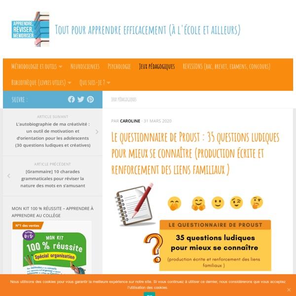 Le questionnaire de Proust : 35 questions ludiques pour mieux se connaître (production écrite et renforcement des liens familiaux )