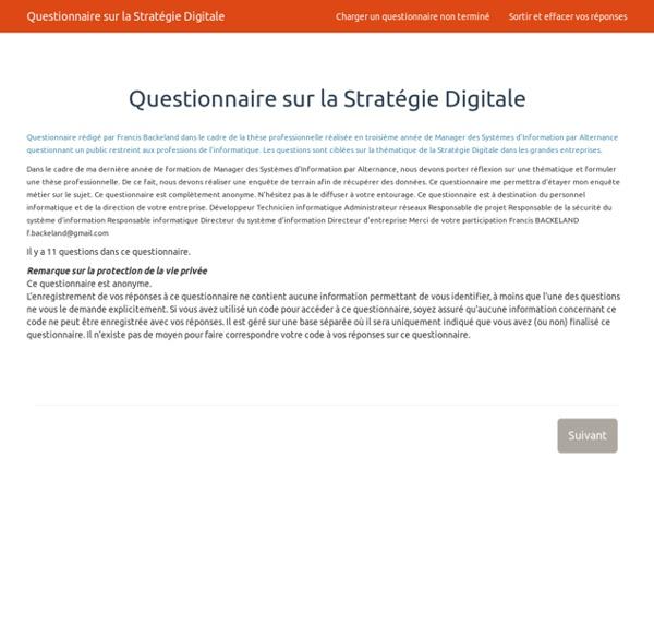 Questionnaire sur la Stratégie Digitale