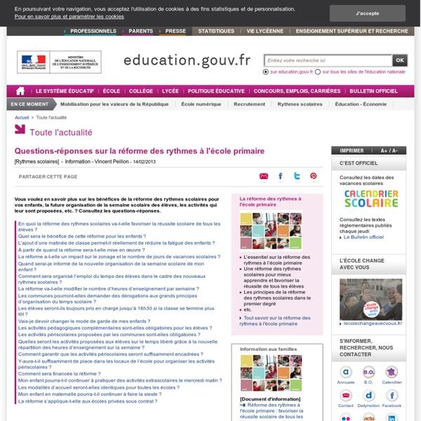 Questions-réponses sur la réforme des rythmes à l'école primaire