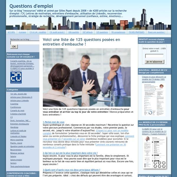 125 questions posées en entretien d'embauche !