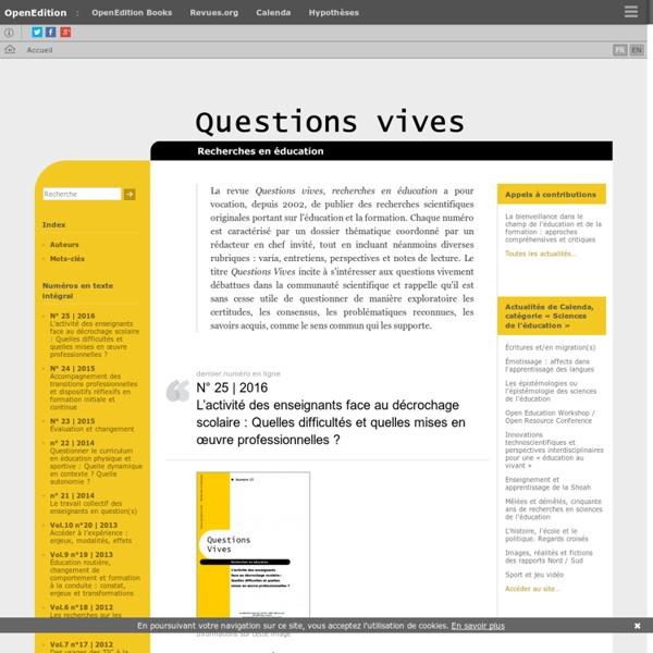 Questions Vives - Recherches en éducation