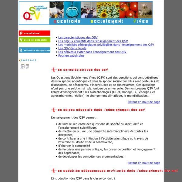 QSV - Questions Socialement Vives
