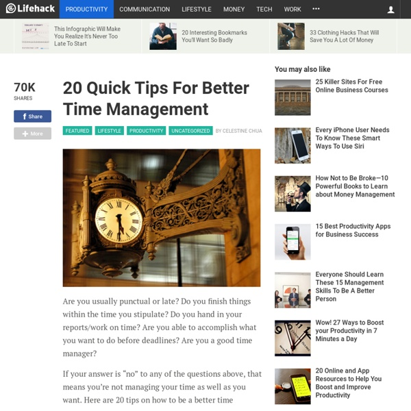 20 Quick Tips For Better Time Management