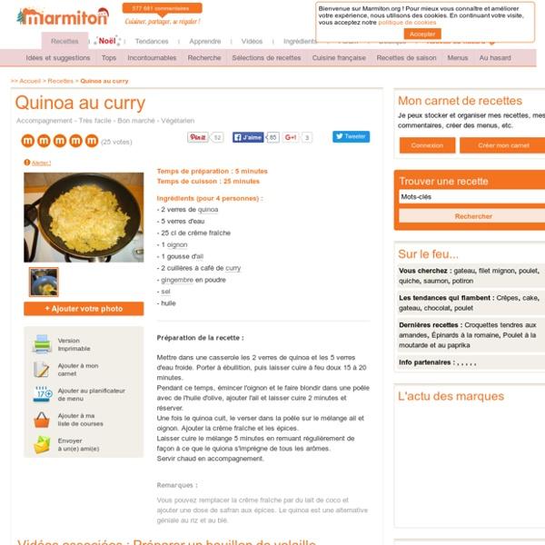 Quinoa au curry : Recette de Quinoa au curry