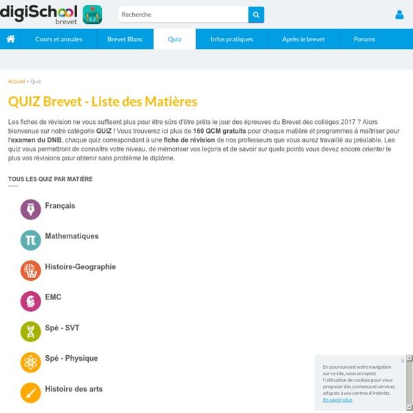 QUIZ BREVET 2017 : 160 Quiz pour s'entrainer au Brevet