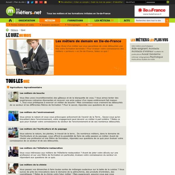 Quiz métiers - Quiz - Formations en Ile de France