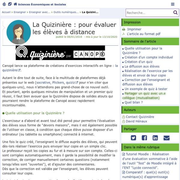 La Quizinière : pour évaluer les élèves à distance (académie de Poitiers)