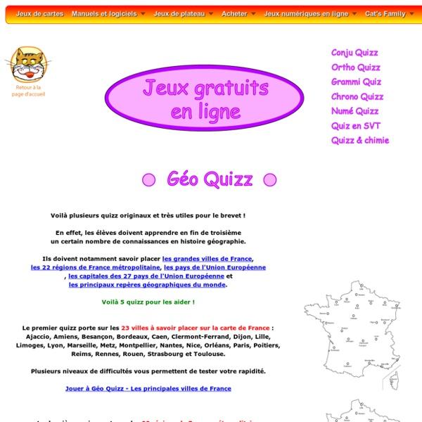 Géo Quizz : jeux en ligne sur la géographie pour le brevet