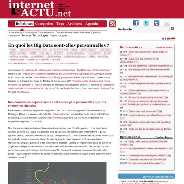 En quoi les Big Data sont-elles personnelles ?