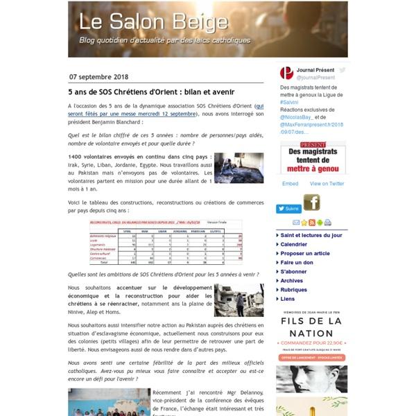 Le Salon Beige - blog quotidien d'actualité par des laïcs catholiques