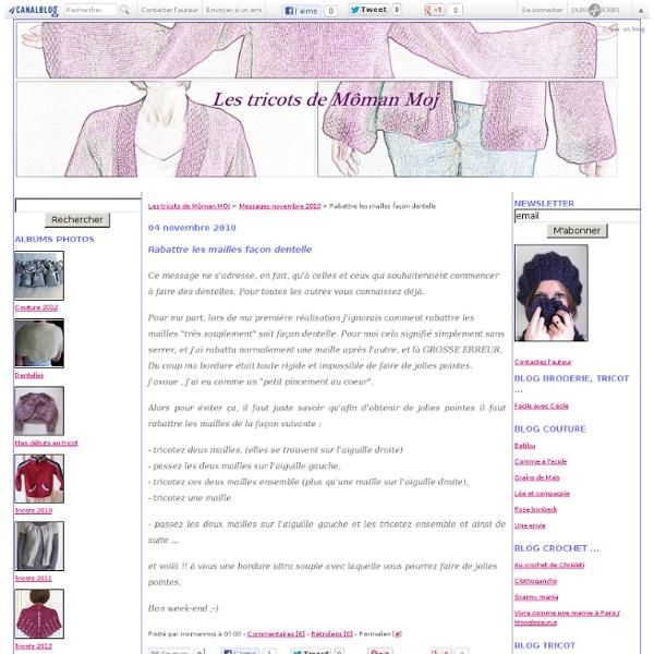 Rabattre les mailles façon dentelle - Les tricots de Môman MOJ
