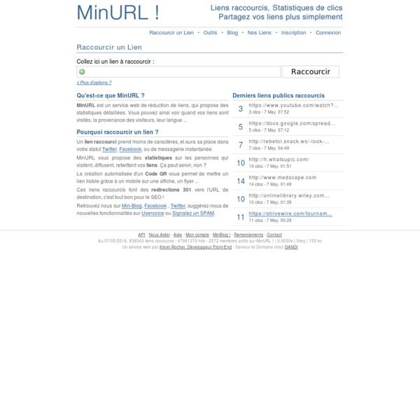 MinURL.fr - Minu.me - Liens raccourcis et Statistiques de clics sur URL courtes