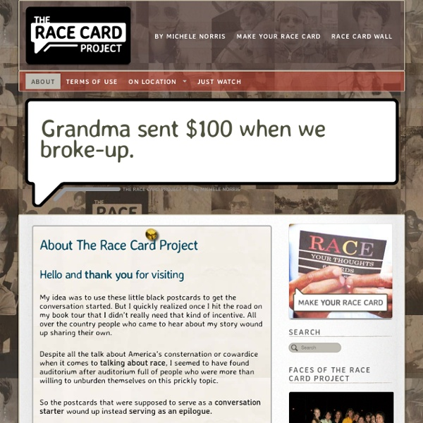 The Race Card Project ® - Submit your 6 Word Essay on Race