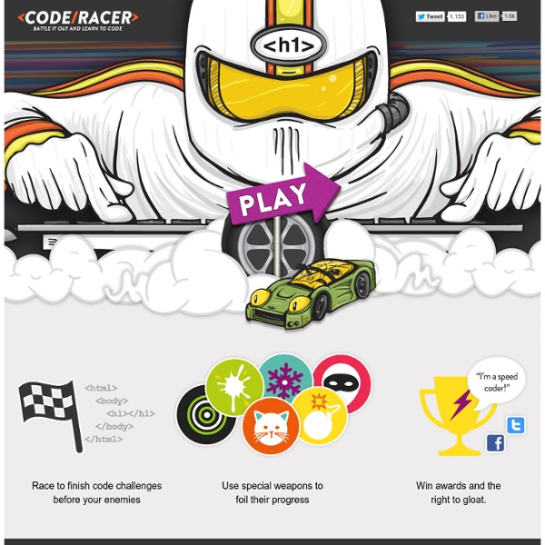 <Code/Racer> - Battle it out and learn the code... Brought to you by Treehouse