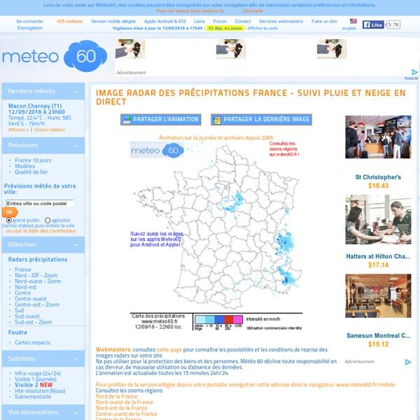 Image radar des précipitations en France