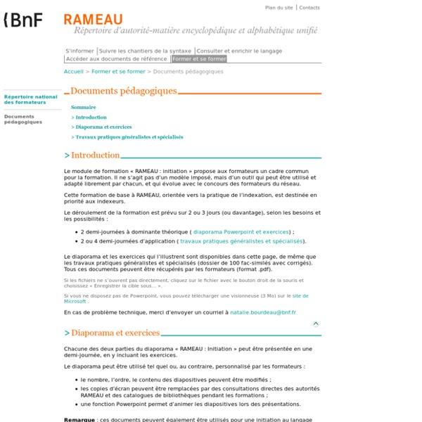 BnF-RAMEAU : Documents pédagogiques