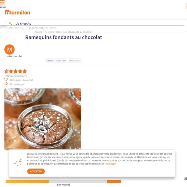 Ramequins fondants au chocolat : Recette de Ramequins fondants au chocolat