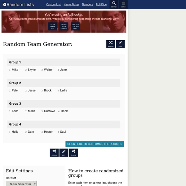 Random Team Generator — Split a list into random groups