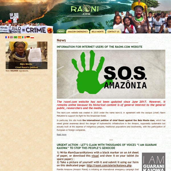 Raoni : the official website of the Kayapo chief- News