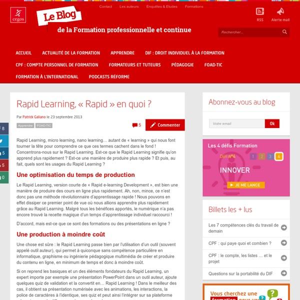Rapid Learning, « Rapid » en quoi