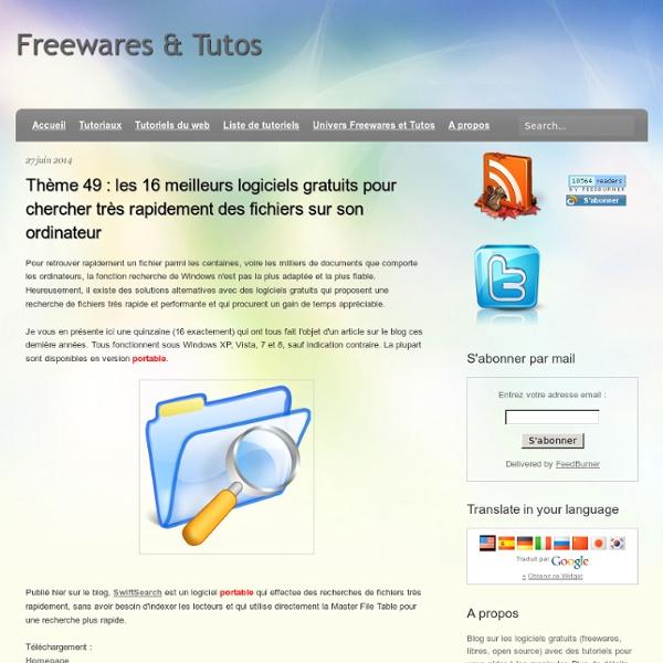Thème 49 : les 16 meilleurs logiciels gratuits pour chercher très rapidement des fichiers sur son ordinateur