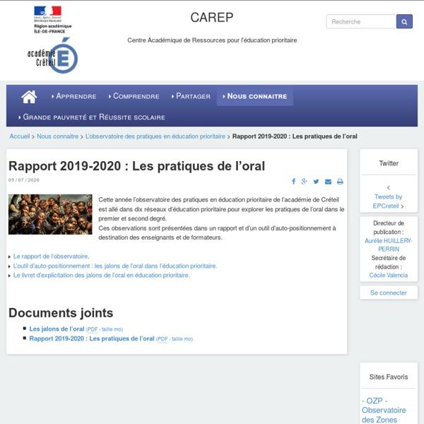 Rapport 2019-2020 : Les pratiques de l'oral